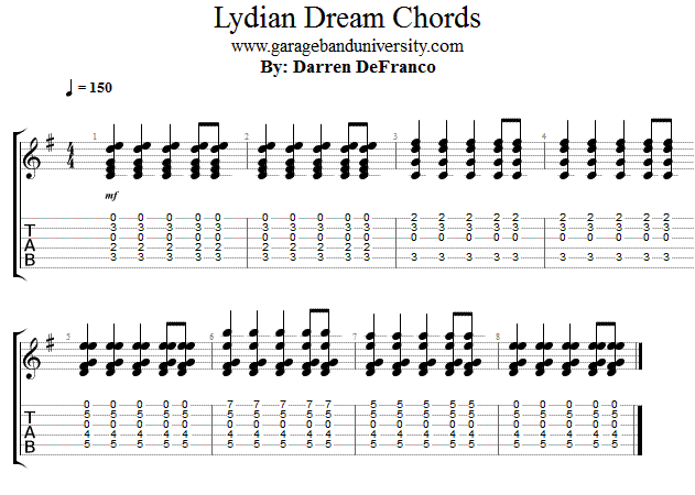 Dreamy Chord Progression Lydian Mode Acoustic Lesson - Garage Band ...