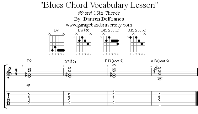 How to play #9 and 13th blues chords - Garage Band University