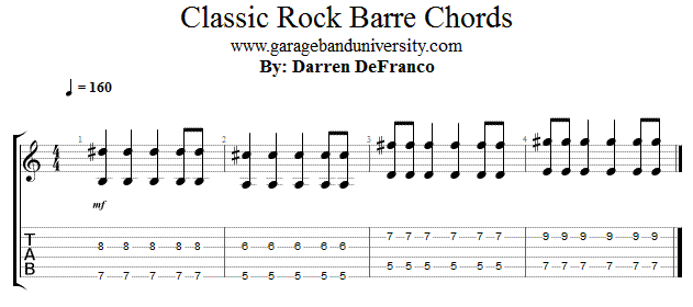 Classic Rock Barre Chords Garage Band University