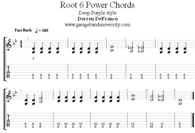 Deep Purple style power chord rock riff - Garage Band University