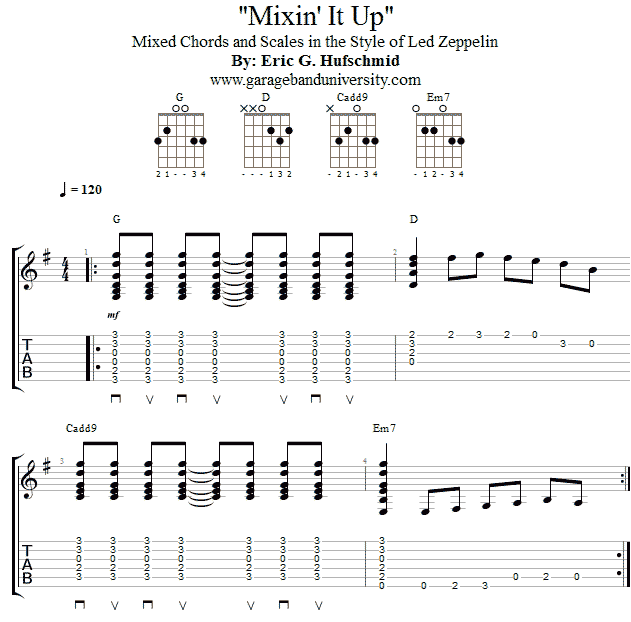 Led Zeppelin chords and scales riff - Garage Band University