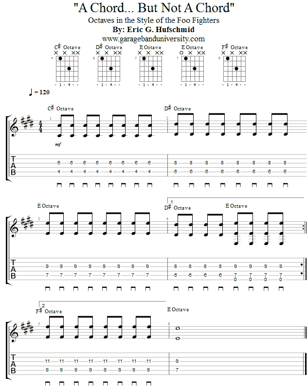 Foo Fighters Style Octave Riff Garage Band University
