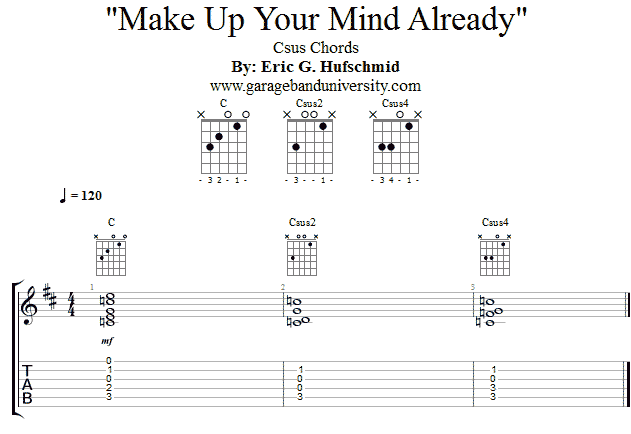 Learn the Csus2 and Csus4 Chords - Garage Band University